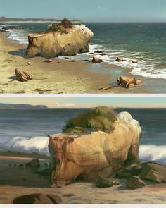Concept Art by Nick Gindraux Landscape Concept, Fantasy Landscape, Landscape Art, Landscape Paintings, Landscapes, Environment Concept Art, Environment Design, Animation Background, Art Background