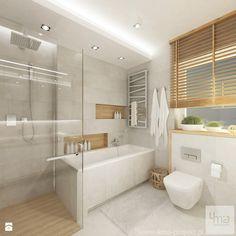 Projekt domu o pow. 125 m2 w Ożarowie Mazowieckim - Średnia łazienka na poddaszu w bloku w domu jednorodzinnym z oknem, styl nowoczesny - zdjęcie od 4ma projekt