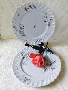 Haviland SYMPHONIE 10 3/8  Dinner Plate Limoges France No Trim Blue Pink flowers #Haviland & 2 Mikasa Italian Countryside Dinner plates White Made in Japan ...