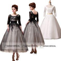 3/4 Long Sleeves Women Wedding Formal Tea Length Black Lace Prom Party Dresses #Handmade #Dress #Formal $60