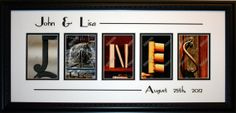 Personalized last name art with name and date cuts. $110 on Etsy