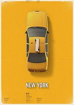 NY cab Poster #yellow