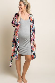 Navy Blue Neon Floral Delivery/Nursing Maternity Robe