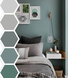 65 Ideas for bedroom colors paint accent wall bathroom Bedroom Wall Colors, Accent Wall Bedroom, Bedroom Color Schemes, Bedroom Green, Bedroom Ideas, Grey Teal Bedrooms, Colour Schemes Grey, Teal Master Bedroom, Teal Bedroom Decor