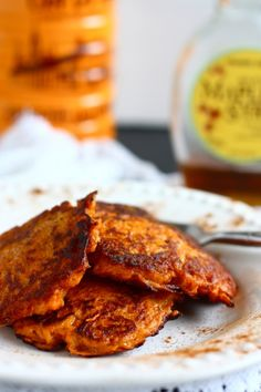 sweet potato pancakes...this has to be best of two amazing worlds...sweet potatoes and pancakes! Super easy, too.    I also replaced the cinnamon with Chili powder and pepper and put in an oiled baking dish at 400 degrees in the oven.  I put couscous and tofu over it for dinner.