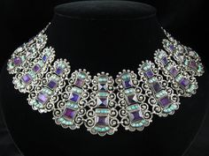 Necklace   Matilde Poulat. Sterling silver,  Amethyst, Turquoise. c. pre 1980. Mexico