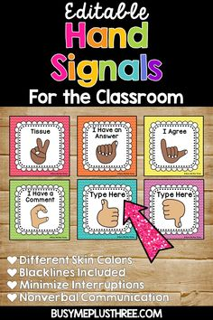 Hand Signals for the Classroom, EDITABLE Classroom Management Bright Chevron Rainbow Chevron, Rainbow Colors, Classroom Management Strategies, Bright Decor, Hand Signals, Printable Pictures, Ways To Communicate, Room Signs, New Teachers