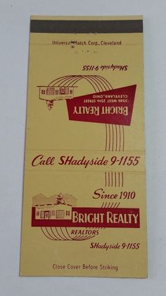 BRIGHT REALTY REALTORS CLEVELAND OHIO THE ARISTOCRAT #MatchBook Cover To order your Business' own personalized #matchbooks or #matchboxes GoTo: www.GetMatches.com or Call 800.605.7331 today!