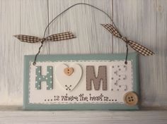 Home Sign Plaque Wooden Button Gingham Ribbon Wire Hanger