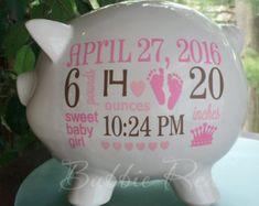 Personalizada hucha, bebé nacimiento estadísticas regalo, bebé niña hucha, bebé niña regalo, hucha, bebé regalo, bebé banco nuevo