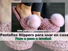 Cómo tejer pantuflas slippers crochet con trapillo paso a paso