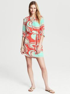 Love this: Abstract Print Shirt Dress Blood Orange @Lyst