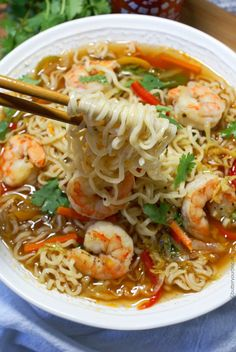These easy shrimp ramen bowls will bring a cheap meal to the next level. Fresh veggies and tender shrimp really puts it over the top. These Spicy Shrimp Ramen Bowls have tender shrimp, crisp veggies and spicy Sriracha! Fish Recipes, Seafood Recipes, Asian Recipes, Soup Recipes, Chicken Recipes, Dinner Recipes, Cooking Recipes, Healthy Recipes, Top Ramen Recipes