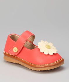 Take a look at this Red Daisy Squeaker Mary Jane by littlebluelamb squeaky shoes on #zulily today!
