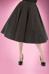 Hearts and Roses Black and White Polkadot Swing Skirt 122 14 14136 2