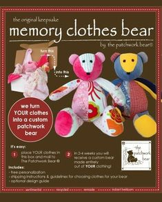 Stuffed teddy bear made from baby clothes. Now just to pick 6-10 items of clothing... by janis