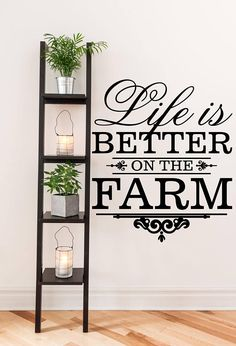 Life is Better on the Farm Farm and Garden Vinyl Wall Quote Comfy Bedroom, Vinyl Wall, Room Furnishing, Furnishings, Cheap Home Decor, Bedroom Furnishings, Elegant Bedding, Home Decor, Custom Vinyl Lettering