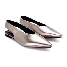 These shiny leather look pointed toe slingback flats are not to be passed up. Gorgeous leather look vamp constructs flat sole with pointed toe and slingback design. Flat Slingback Shoes, Pointy Toe Flats, Flat Shoes, Toe Shoes, Pumps, Shiny Shoes, Silver Flats, Vegan Shoes, Strap Sandals