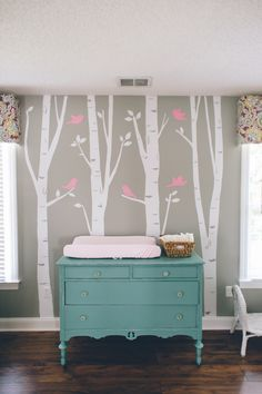 Gray & Pink Nursery - Kenzie's! - Photo by Crystal Stokes Photography. Paint color- Annie Sloan's Provence!