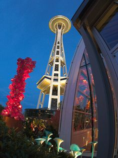 Seattle Center at Dusk - Home of the Chihuly Garden and Glass Museum, Space Needle & EMP (Experience Music Project)