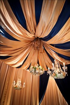 From Paris with Love. Navy & Gold Inspiration. Ceiling drape and crystal chandeliers filled with flowers.                 Design & Planning – Lemiga Events Floral – Jackson Durham Linen – I Do Linens Stationery – Papered Wonders Calligraphy – Hollis for Lemiga Events Drape – Event Drapery Chandeliers & Vintage Rentals – The Funky Shack Rentals – We Rent Atlanta Lighting – Unique Event Management Wedding Cake & Mini Cakes – For Goodness Cakes Photography – Claudia McDade