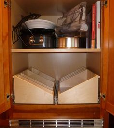 ShelfGenie Over the Fridge/Oven Solutions - cabinet and drawer organizers - other metro - by ShelfGenie of Seattle Oak Kitchen Cabinets, Kitchen Shelves, Kitchen Redo, Kitchen Storage, Kitchen Remodel, Kitchen Dining, Kitchen Ideas, Cookbook Display, Cookbook Storage