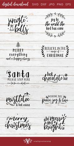 Christmas Fonts, Christmas Crafts, Vinyl Christmas Shirts, Christmas Letters, Cricut Projects Christmas, Xmas, Christmas Clipart, Silhouette Cameo, Silhouette Studio