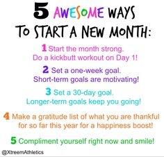 Start your month strong! #goalsetting #newchallenge