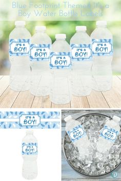 "Decorate your baby shower water bottles with this set of 20 waterproof, self-adhesive, blue and white, ""It's a Boy"" water bottle sticker labels. #boybabyshower"