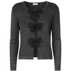 Claudie Pierlot  Mignon Bow Cardigan ($150) ❤ liked on Polyvore featuring tops, cardigans, woven top, cardigan top, bow cardigan, bow top and holiday party tops