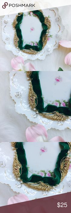 """. AVA Cayenne .Necklace. . \\Necklace// Green velvet choker ::: With gold embroidery + pearls ::: Approximately [16""""] in length ::: In excellent condition ::  Please ask any + all questions prior to purchase + review photos ::: Photos of actual item for sale ::: 🚭 home• Vintage Jewelry Necklaces"""