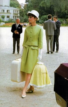 Audrey in Givenchy green suit dress 60s wool boucle shoes hat 60s movie star icon vintage fashion style color photo print ad designer couture