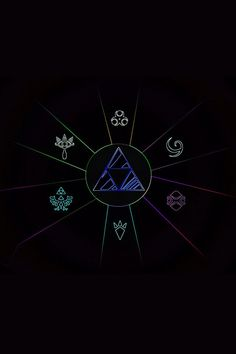 The Legend of Zelda - The Triforce and all 6 of the major temples symbols!