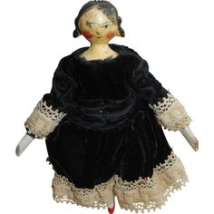 Small Grodnertal Doll Unusual Hairstyle c1880