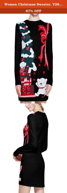 Women Christmas Sweater, V28 Ugly Ladies Girls Cute Bear Xmas Knit Sweater Dress (M, Bear Black). V28 is Passion About Fashion and Knitwear, With Love & Passion It Creating Casual yet Dramatic Knitwear. V28 aim 100% Customer Satisfaction And Happiness. (V28 is a US registered trademark) Ugly Christmas Sweater for Women Exclusive Christmas Sweaters Dress Material: Made of Soft Acrylic. Washing Instruction : Machine Washable in Cold Water Mild Soap Flat Dry Do not Bleach .
