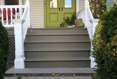 Painting Concrete Porch Steps Design Idea - Home Landscaping Painted Concrete Steps, Concrete Stairs, Painting Concrete, Painted Stairs, Concrete Patio, Cement, Porch Steps, Front Steps, Porch Paint