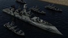 A guided missile destroyer and 4 fast attack ships. Both ships are for an RTS I am leading the development of, along with a few others. The fast attack . Guided Missile Destroyer and Fast Attack Ships Military Weapons, Military Art, Planes, Spaceship Art, Concept Ships, Concept Weapons, Army Vehicles, Futuristic Art, Navy Ships