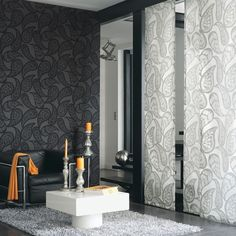 Midnight 2 Wallpaper and Fabric Collection(source Casadeco) Wallpaper Australia / The Ivory Tower Casadeco Wallpaper, Wallpaper For Sale, Buy Wallpaper Online, Wallpaper Stores, Arabesque, Coordinating Fabrics, Designer Wallpaper, Soft Furnishings, Decoration