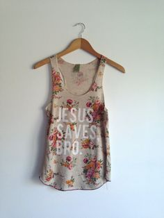 Jesus saves bro . racer tank by greythread on Etsy, $24.00