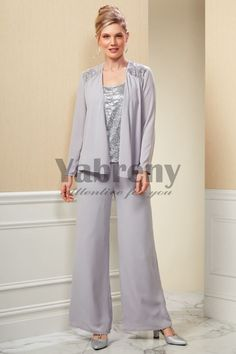 7265f43afe6a5 Modern Gray Mother of the bride pantsuit Silver Sequins Tunic Chiffon  Trouser mps-096