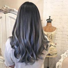 Ash gray balayage on brown hair