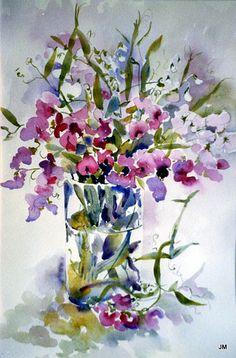 L'aquarelle a gardé la fraicheur des pois de senteur... / The watercolour has kept the freshness of the sweet peas. / By Jan.
