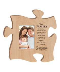 Look what I found on #zulily! Maple 'Our Family' Puzzle Piece Photo Frame #zulilyfinds