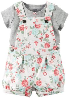 Carter's 2 Piece Floral Shortall Set, Ivory, New Born