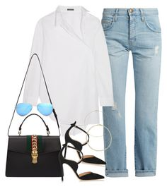 """""""Untitled #2813"""" by camilae97 ❤ liked on Polyvore featuring Current/Elliott, Ann Demeulemeester, Gucci, Gianvito Rossi and Ray-Ban"""