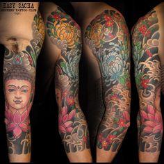 Lotus Buddha Tattoo Sleeve