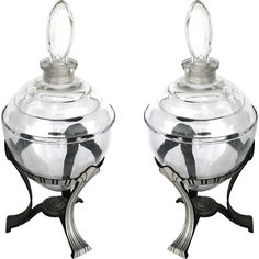 Pair of Large 1920's Apothecary Jars | From a unique collection of antique and modern apothecary jars and objects at https://www.1stdibs.com/furniture/more-furniture-collectibles/apothecary-jars-objects/