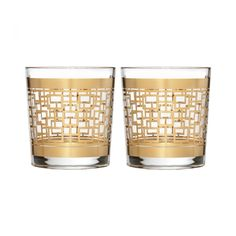 Mixology Mad Men Edition Holloway Gold Patterned Double Old Fashioned, Pair