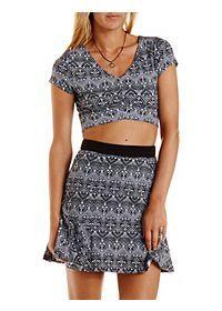 Geometric Print Crop Top & Skirt Hook-Up
