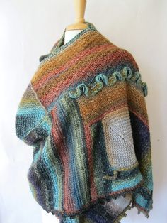 Art Shawl in Noro Wool  Extra Large Shawl Wrap by SewEcological